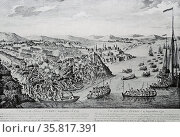 Line engraving depicting the capture of Quebec. Редакционное фото, агентство World History Archive / Фотобанк Лори