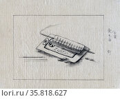Japanese ink drawing of surgical instruments. Редакционное фото, агентство World History Archive / Фотобанк Лори