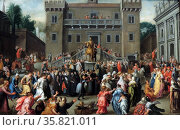 The Women of Rome Gathering at the Capitol by Peter Isaacsz (1569-1625) oil on copper, c 1600-1602. Редакционное фото, агентство World History Archive / Фотобанк Лори