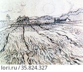 Vincent Van Gogh 'Wheat field with rising sun'. Редакционное фото, агентство World History Archive / Фотобанк Лори