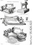 Sewing machines:  The Wanzer, Wright & Mann's, Grover & Baker's knotted stitch machine, and the'Florence' machine. Engraving, London, 1866. Редакционное фото, агентство World History Archive / Фотобанк Лори