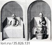 Aachen, famous spa town, known to the Romans as Aquisgranum. Vapour half-bath (left) and Water half-bath (right). From ''Amusemens des eaux d'Aix-la-Chapelle'', Amsterdam, 1736. . Редакционное фото, агентство World History Archive / Фотобанк Лори