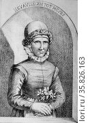 The miraculous Eva Vliegen, known also Eva Fly and Crone of Muers (c1575-after 1628) who claimed to have lived off the scent of flowers for 17 years from 1594. Engraving, London, c1869. Редакционное фото, агентство World History Archive / Фотобанк Лори