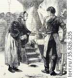 Poor woman trying to make a few pennies by selling wooden skewers she has mde to a butcher. Illustration by George John Pinwell, London, 1868. . Редакционное фото, агентство World History Archive / Фотобанк Лори