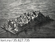 world War I, A from the wreck of the Italian auxiliary cruiser Gallia, torpedoed on October 4, 1916 in the morning. The raft is preparing to receive the rope thrown from a rescue ship. Редакционное фото, агентство World History Archive / Фотобанк Лори