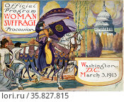 Cover of program for the National American Women's Suffrage Association procession, showing woman. Редакционное фото, агентство World History Archive / Фотобанк Лори