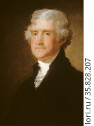 portrait of Thomas Jefferson by Gilbert Stuart, who was the premier portraitist of the early republic. Редакционное фото, агентство World History Archive / Фотобанк Лори