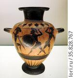 Small Black figured Hydra (Water Jar), depicting warriors fighting. Greco-Italian made in Italy 550-540 BC. Редакционное фото, агентство World History Archive / Фотобанк Лори