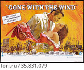 Gone with the Wind' a 1939 American epic historic romance film adapted from Margaret Mitchelle's Pulitzer-winning novel starring Clark Gable and Vivien Leigh. Редакционное фото, агентство World History Archive / Фотобанк Лори