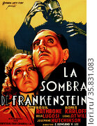 Spanish Film poster of La sombra de Frankenstein (Son of Frankenstein). 1939 a horror film and is the third film in Universal Studios' Frankenstein series and the last to feature Boris Karloff as the Monster as well as the first to feature Bela Lugosi as Ygor. The picture a sequel to James Whale's Bride of Frankenstein directed by Rowland V. Lee and starring Basil Rathbone, Boris Karloff and Béla Lugosi. Редакционное фото, агентство World History Archive / Фотобанк Лори