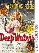 Deep Waters' starring Dana Andrews and Jean Peters a 1948 drama film based on the 1946 novel Spoonhandle written by Ruth Moore. Редакционное фото, агентство World History Archive / Фотобанк Лори