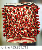 Cotton and wool embroidered hat. 20th century. Sierra Leone, Africa. Редакционное фото, агентство World History Archive / Фотобанк Лори