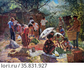 Eduardo Gonzales Perrenoud, Jr., Market Scene, 1994, Oil on canvas. Редакционное фото, агентство World History Archive / Фотобанк Лори