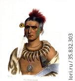 Hoo-Wan-Ne-Ka, a Winnebago chief. drawn, printed & coloured at the Lithographic & Print Colouring Establishment, by John Bowen, 1801-1856. Редакционное фото, агентство World History Archive / Фотобанк Лори