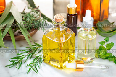 Herbal essential oil. Rosemary oil, eucalyptus oil, aloe vera, pepermint...