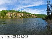 High steep rocky bank of the Oka Sayan River. East Sayan, Buryatia... Стоковое фото, фотограф Zoonar.com/Sergey Rybin / age Fotostock / Фотобанк Лори