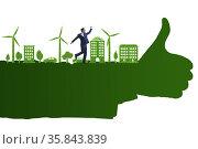 Green environment concept with businessman. Стоковое фото, фотограф Elnur / Фотобанк Лори
