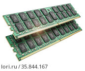 DDR ram computer memory modules isolated on white. Стоковое фото, фотограф Maksym Yemelyanov / Фотобанк Лори