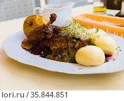 Duck with yeast dumplings and blue cabbage. Стоковое фото, фотограф Яков Филимонов / Фотобанк Лори