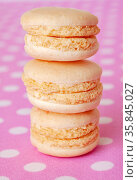 Delicate vanilla french macaroons close-up stacked with a stack on a polka dot background. Стоковое фото, фотограф Анна Гучек / Фотобанк Лори