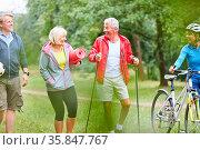 Aktive Senioren im Sportverein machen gemeinsam Fitness in der Natur. Стоковое фото, фотограф Zoonar.com/Robert Kneschke / age Fotostock / Фотобанк Лори