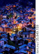 Zermatt, Switzerland - October 7, 2019: Town night aerial view with... Стоковое фото, фотограф Zoonar.com/Nataliya_Nazarova{} / age Fotostock / Фотобанк Лори