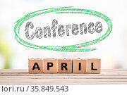 Conference in april launch sign made of wooden cubes. Стоковое фото, фотограф Zoonar.com/Kasper Nymann / age Fotostock / Фотобанк Лори