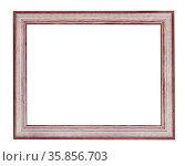 Empty brown and silver painted wooden picture frame with cut out canvas... Стоковое фото, фотограф Zoonar.com/Valery Voennyy / easy Fotostock / Фотобанк Лори