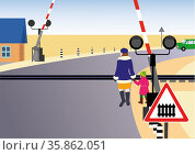 Rules of road. Regulated railway crossing. Стоковая иллюстрация, иллюстратор Валентина Шибеко / Фотобанк Лори