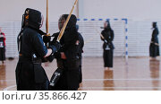 RUSSIA, KAZAN 24-04-2021: Kendo tournament - japanese martial art - men fighting each other with bamboo swords. Редакционное видео, видеограф Константин Шишкин / Фотобанк Лори
