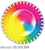 Sonnen Farbkreis und Farbrad mit Farbfeld Muster. Стоковое фото, фотограф Zoonar.com/Robert Kneschke / age Fotostock / Фотобанк Лори