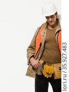 Portrait of a construction worker. Стоковое фото, фотограф Shannon Fagan / Ingram Publishing / Фотобанк Лори