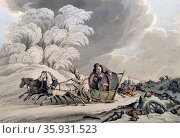 Aquatint with hand-colouring titled 'Bonaparte's Flight in Disguise from his Ruined Grand Army in Russia' by John Augustus Atkinson. Редакционное фото, агентство World History Archive / Фотобанк Лори