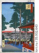 Woodcut illustration shows Japanese worshippers arriving at the Oji Inari shrine. Редакционное фото, агентство World History Archive / Фотобанк Лори