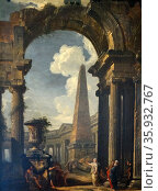 Ruins of a Temple with a Sibyl circa 1719. By Giovanni Paolo Panini (c1692-1765) Редакционное фото, агентство World History Archive / Фотобанк Лори