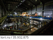 Turbine hall within a coal powered power station. Liddell Power Station, Musswellbrook, NSW, Australia. July 2018. Стоковое фото, фотограф Doug Gimesy / Nature Picture Library / Фотобанк Лори
