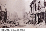Destruction of a Belgian town at the beginning of World War One. Редакционное фото, агентство World History Archive / Фотобанк Лори