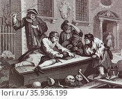 The Idle 'Prentice at Play in the Church Yard, during Divine Service by William Hogarth. Редакционное фото, агентство World History Archive / Фотобанк Лори