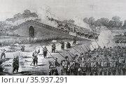 Engraving depicting the attack on the bridge at Pa-Li-Chian. Редакционное фото, агентство World History Archive / Фотобанк Лори