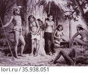 Tribal peoples of Borneo; Oceania 1850. Редакционное фото, агентство World History Archive / Фотобанк Лори