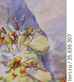 Painting depicting soldiers being crushed by rolling stones by Joseph Ratcliffe Skelton. Редакционное фото, агентство World History Archive / Фотобанк Лори