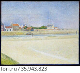 Painting titled 'The Channel of Gravelines Grand Fort-Philippe' by Georges-Pierre Seurat. Редакционное фото, агентство World History Archive / Фотобанк Лори