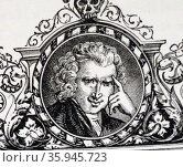 Engraved portrait of Laurence Sterne. Редакционное фото, агентство World History Archive / Фотобанк Лори