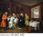 Painting titled 'Marriage à-la-mode: 6. The Lady's Death' by William Hogarth (2013 год). Редакционное фото, агентство World History Archive / Фотобанк Лори