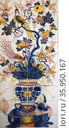 Dutch tile panel with flowering tree. Редакционное фото, агентство World History Archive / Фотобанк Лори
