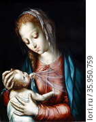 Painting titled 'The Virgin and Child' by Luis de Morales. Редакционное фото, агентство World History Archive / Фотобанк Лори
