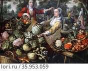 Painting titled 'The Four Elements: Earth' by Joachim Beuckelaer. Редакционное фото, агентство World History Archive / Фотобанк Лори