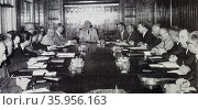 Photograph of a General Cemal Gürsel presiding over a meeting of a Council of Minister. Редакционное фото, агентство World History Archive / Фотобанк Лори