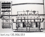 Illustration of an Oscillating paddle engine of the steamer 'Berbice' (2016 год). Редакционное фото, агентство World History Archive / Фотобанк Лори