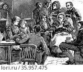 Illustration depicting the evening wake. Редакционное фото, агентство World History Archive / Фотобанк Лори